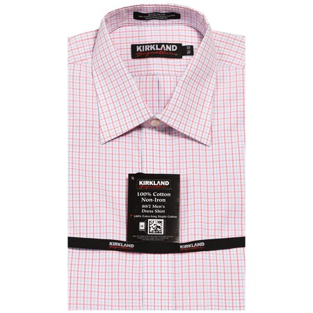 Kirkland Mens Non Iron Stain Resistant Spread Collar Dress Shirt