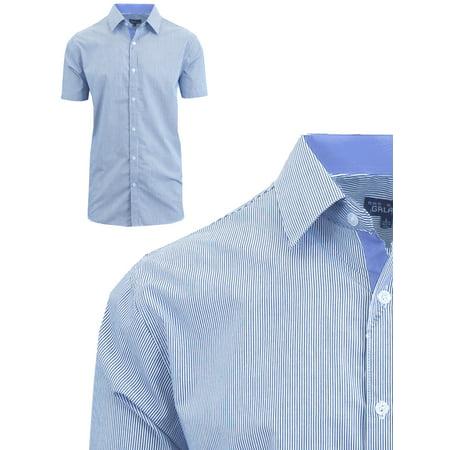 Mens Short Sleeve Casual Dress Shirts Slim Fit Button Down - Pinstripe Dress Shorts