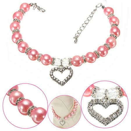 Fashion Pet Puppy Dog Cat Piggy Pearl Necklace Pendant Pet Accessories Dogs Cats Collar Color:Pink Size:M