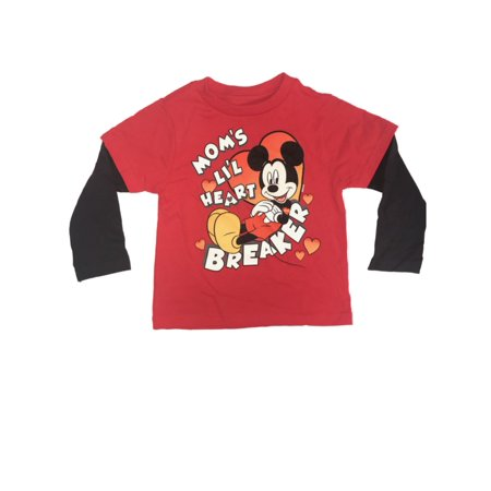 Disney Mickey Mouse Toddler Boys Valentines Day Heart Breaker Long Sleeve Shirt