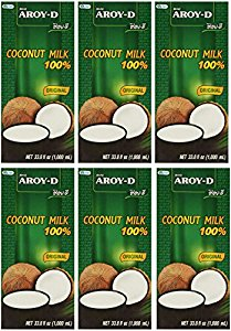 Aroy-D 100% Coconut Milk 33.8 oz packages (6-pack) by