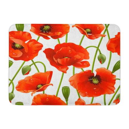 NUDECOR Red Flower Poppy Green Pattern Dew Bright Ladybug Abstract Doormat Floor Rug Bath Mat 30x18 inch - image 1 of 1