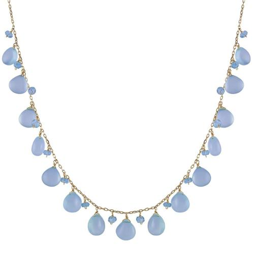 JEWELMAK 14k Yellow Gold Apatite and Dyed Blue Chalcedony Necklace by Overstock