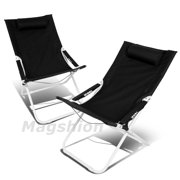 Magshion 4 Position Pair Folding Beach Camping Patio Outdoor Travel Recliners Chair Set Of 2 Black
