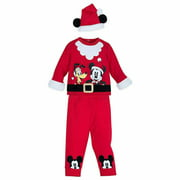 Mickey Mouse and Pluto Santa Suit Baby Outfit Set with Hat Boys 0 3 Months