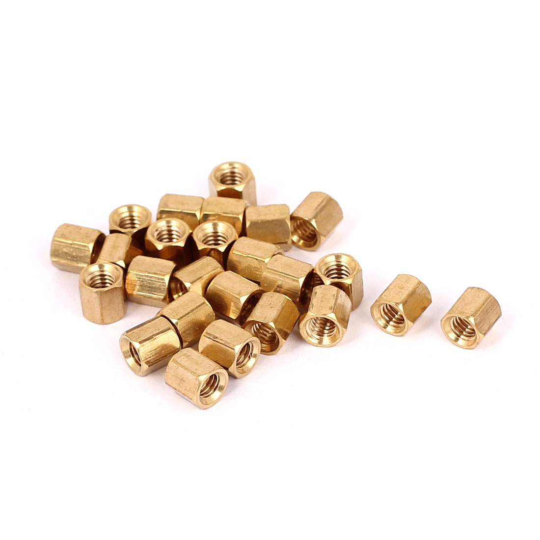 M4 x 6mm Female Threaded Brass Hex Standoff Pillar Rod Spacer Coupler Nut 25pcs