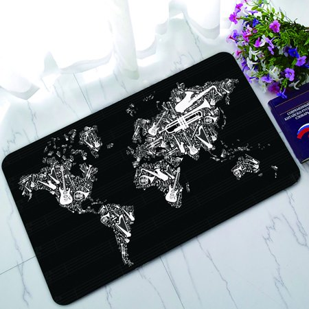PHFZK Globe Doormat, World Map Silhouette Made with Musical Instruments Black and White Doormat Outdoors/Indoor Doormat Home Floor Mats Rugs Size 30x18 - Black And White Musical
