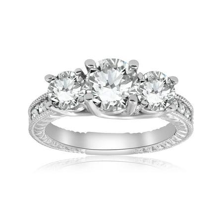 7c05dd2a5fff4 G/SI 2 1/2ct Vintage Three Stone Diamond Engagement Ring 14K White Gold