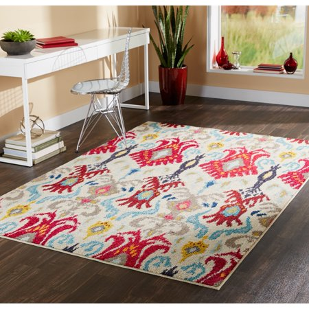 Style Haven Vibrant Bohemian Ivory Red Area Rug 4 X 59 4 X 5