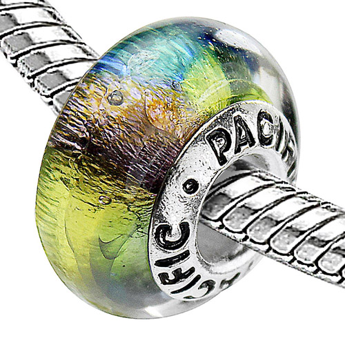 Pacific 925 Charms Sterling Silver Core Glass Bead, Reggae