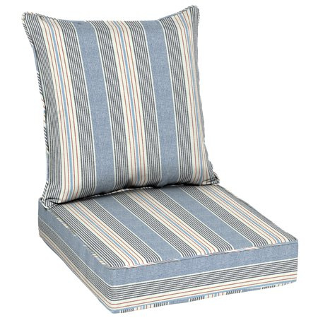 Better Homes & Gardens Hickory Stripe 48 x 24 in. Outdoor Deep Seat Cushion Set with (24 Seat Cushion)