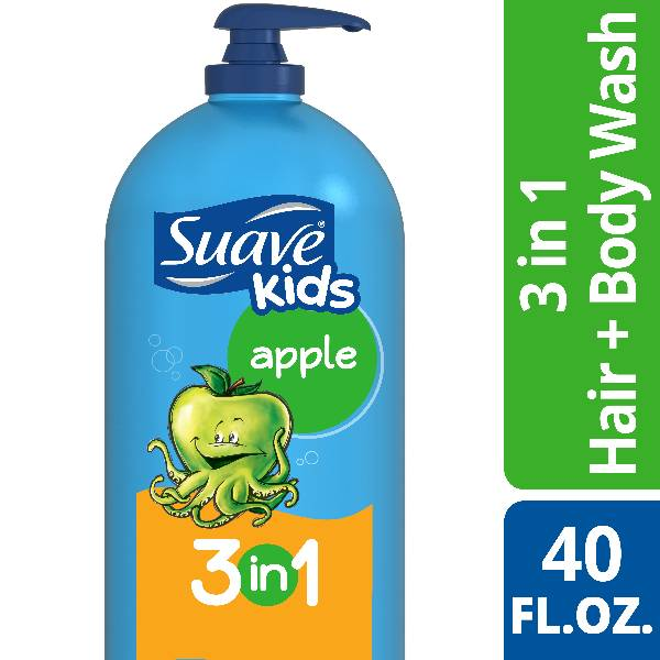 Suave Kids 3-in-1 Shampoo, Conditioner & Body Wash, Apple, 40 Oz