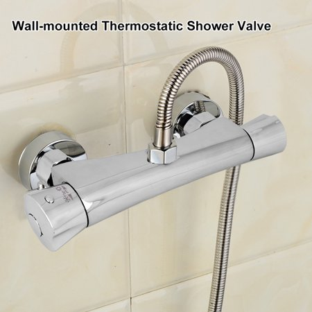 Thermostatic Shower Valve Hilitand Wall Mounted Chrome Plated Brass Thermostatic Shower Mixing Valve Home Bathroom Accessory, Thermostatic Mixer, Thermostatic Mixer Bar