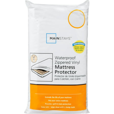 Mainstays Waterproof Zippered Vinyl Mattress Protector, 1 Each (Waterproof Twin Mattress Pad)