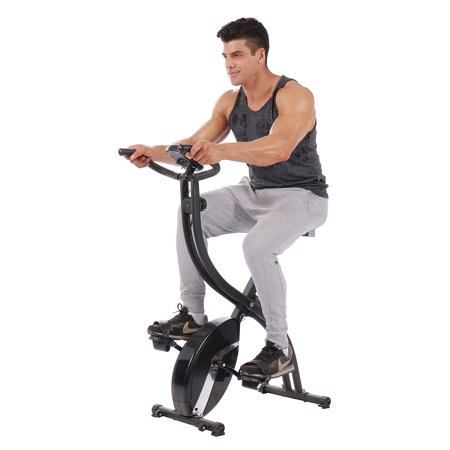 Folding Upright Exercise Bike, Premium 3-in-1 Foldable Indoor Recumbent Cycling Bikes, Stationary Bike Exercise Equipment with Adjustable Arm Resistance Bands, 8 Resistance Levels, 260lbs, S13529