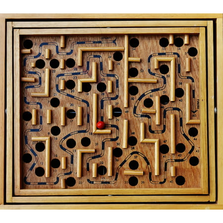 Ball Wood Red Puzzle Labyrinth Toys Fun Play Poster Print 24 x 36 - Labyrinth Toys