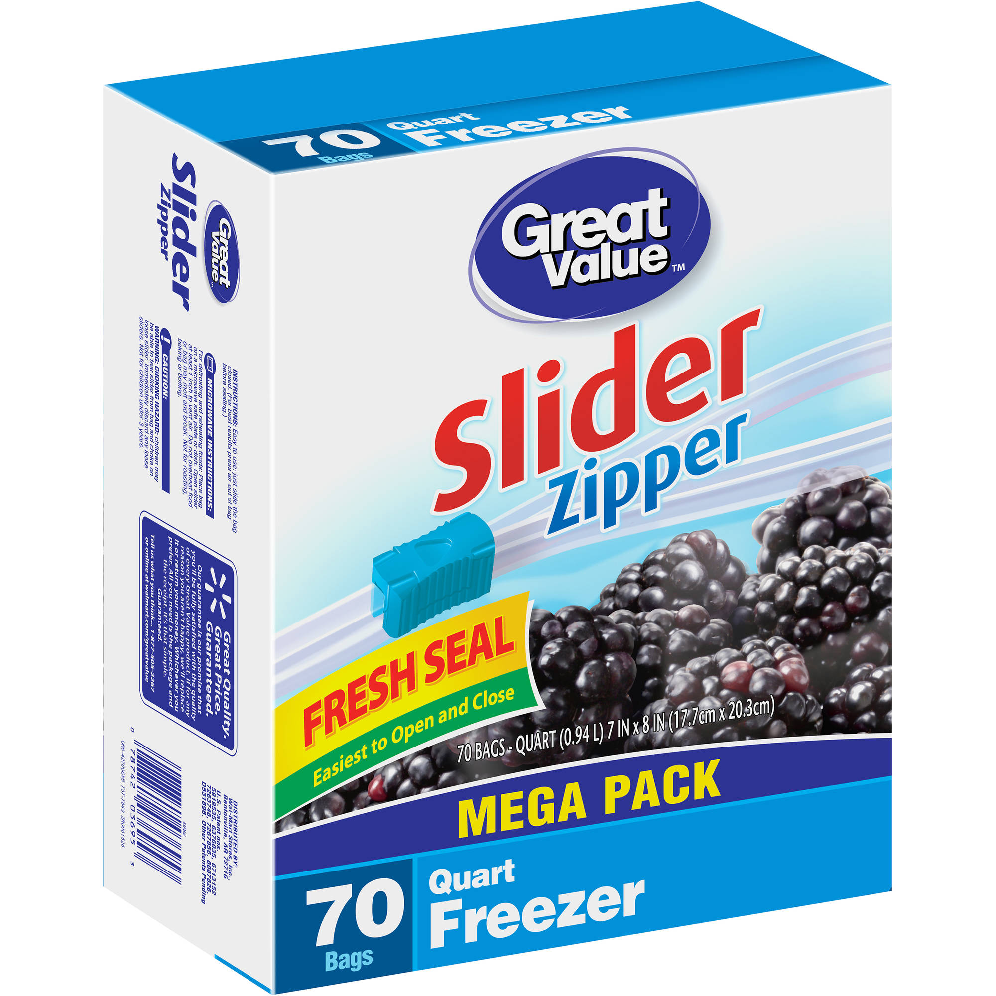 Great Value Quart Freezer Bags, 70 count