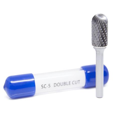 Sc Burr - SC-5 Cylinder Shape Ball Nose - Premium Double Cut Tungsten Carbide Burr 1/4