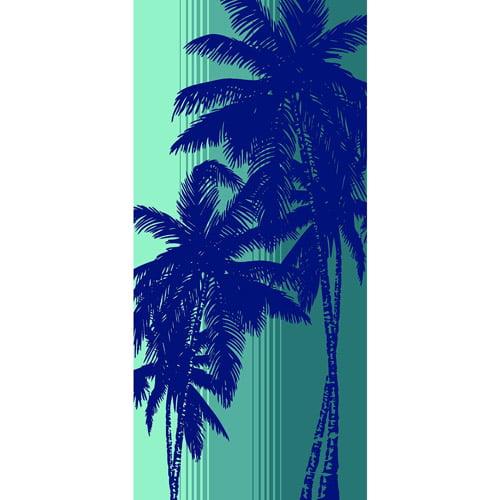 Mainstays Fiber Reactive Print Beach 2-Piece Towel Set, Sunset Palm Turqoise