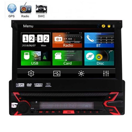 Universal Single 1 Din 7 Inch Capacitive Touchscreen Car Stereo Autoradio GPS Navigation Car DVD Player Car Radio Detachable Panel Car Headunit Bluetooth Colorful Key Lights +Free 8GB GPS Map