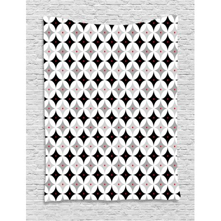 - Mid Century Tapestry, Retro Styled Atomic Composition with Vintage Diamond Line Pattern, Wall Hanging for Bedroom Living Room Dorm Decor, Pale Grey Black Red, by Ambesonne