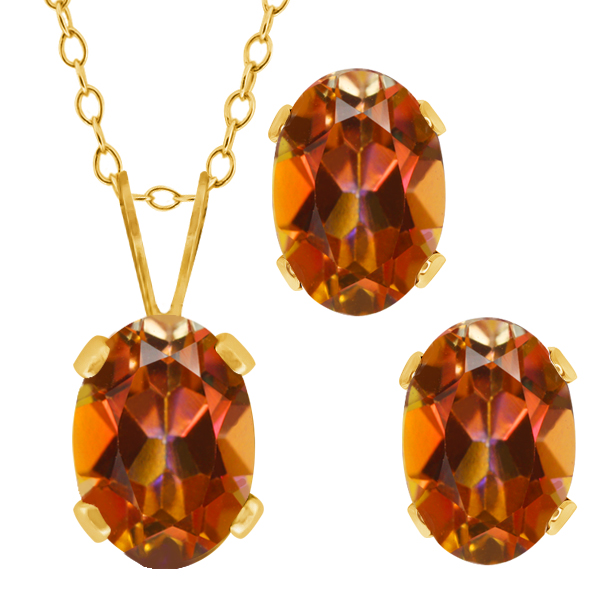 2.05 Ct Oval Ecstasy Mystic Topaz Gold Plated Silver Pendant Earrings Set