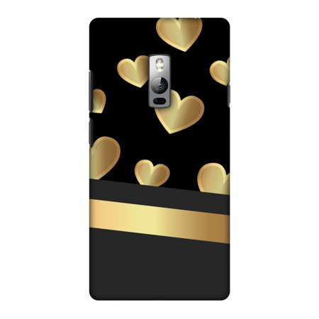 OnePlus 2 Case, Premium Handcrafted Printed Designer Hard Snap On Case Back Cover for OnePlus 2 - Golden Hearts Two Hearts Snap