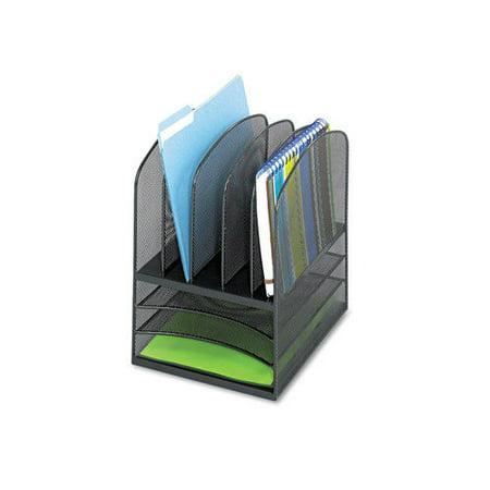 Safco 3266Bl Onyx Mesh Desk Organizer  Eight Sections  11 1 2 X 9 1 2 X 13  Black