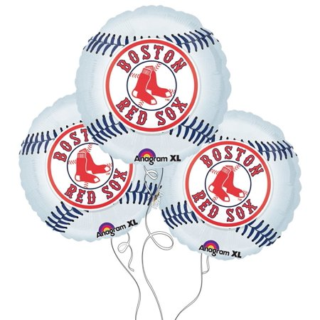 Boston Red Sox Baseball Mylar Balloons - 3 Pack, Pack of 3 Baseball Themed Mylar Balloons By Party Explosions - Baseball Themed Party