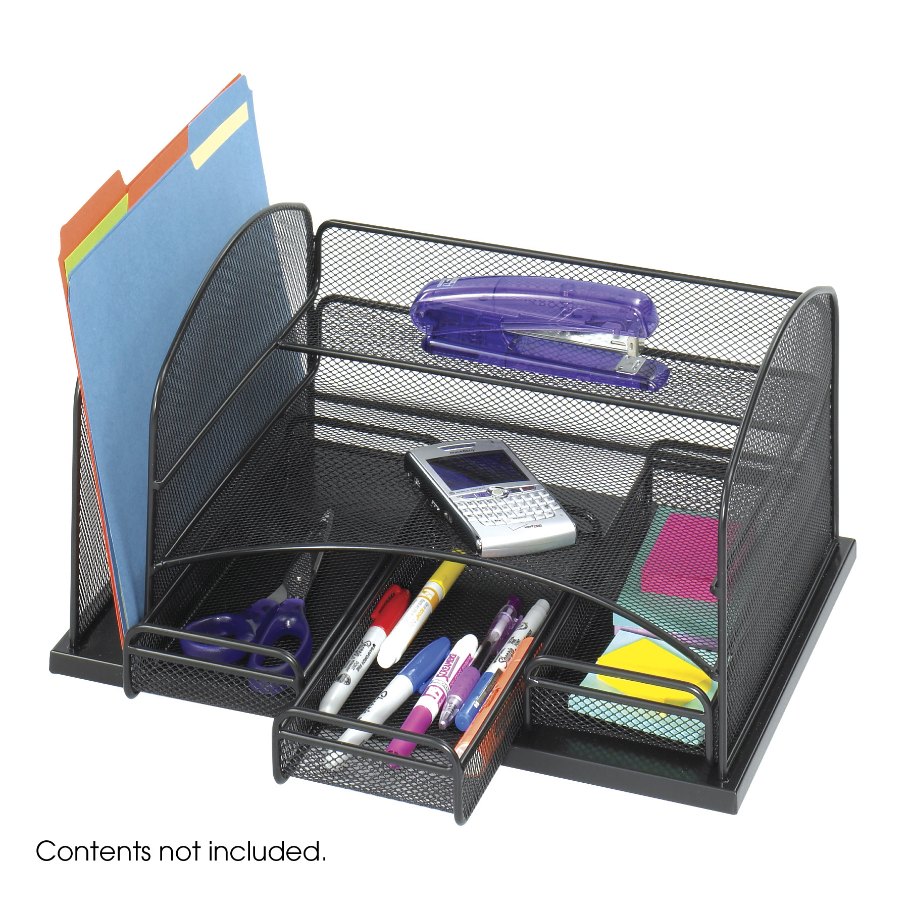 Onyx Mesh Desktop Organizer with 3 Drawers