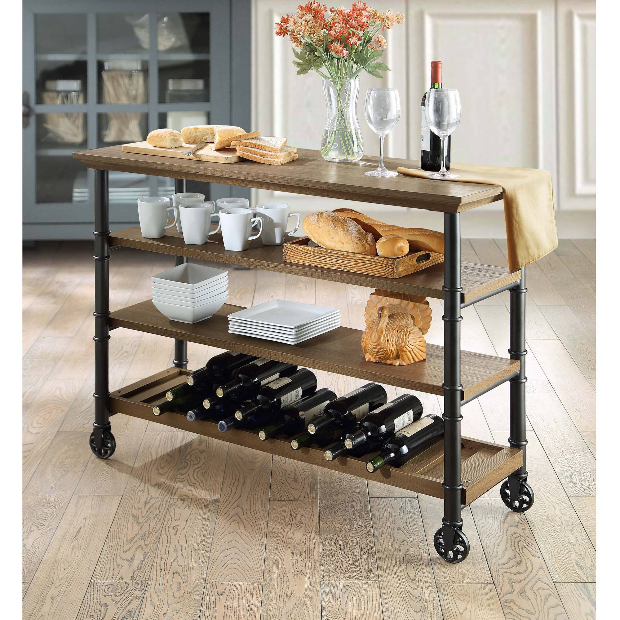 Whalen Santa Fe Portable Kitchen Cart with Wine Rack, Rustic Brown