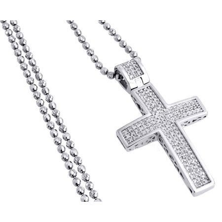 Diamond Pendant Mini Jesus Piece Cross .925 Charm 0.75 Ct with Moon-cut Chain