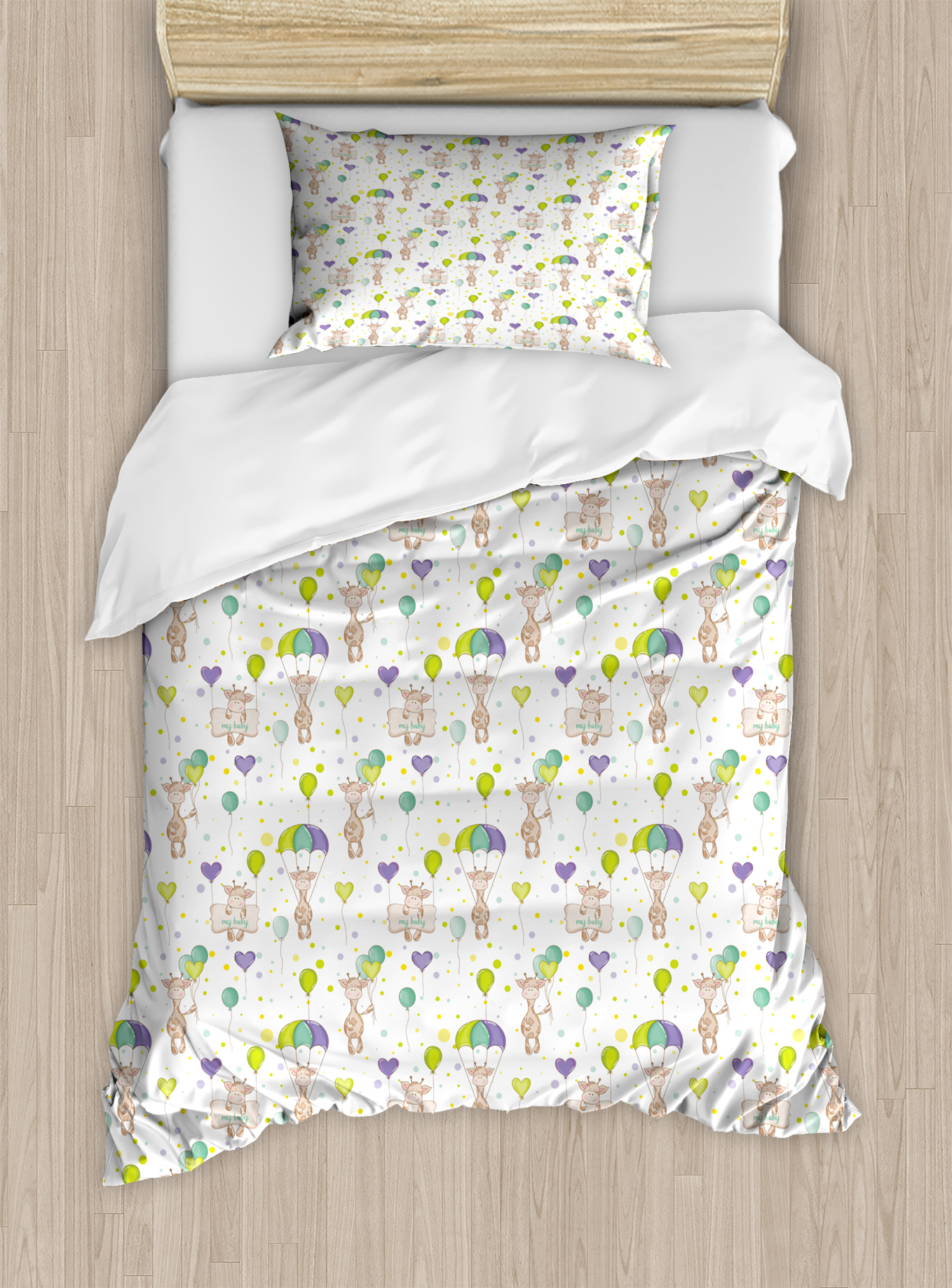 Baby Duvet Cover Set, Infant Giraffes Flying with Balloons with Polka Dotted Background Newborn Love Hearts,... by Kozmos