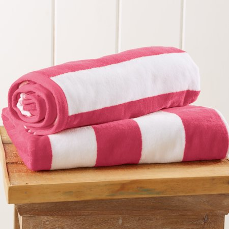 100% Cotton Cabana Stripe Velour Beach Towel By Home Fashion Designs.