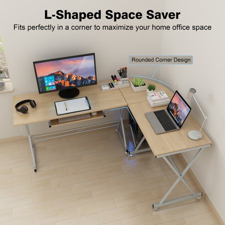 low priced f090a d474b SLYPNOS L-Shaped Desk Computer Desk Deep L-Shaped Desk Corner Workstation  Home Office Bevel Edge Design White Maple