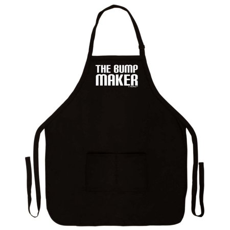 The Bump Maker Dad To Be Funny Apron For Kitchen BBQ Barbecue Cooking Baking Crafting Gardening Two Pocket Expecting Father Husband Black