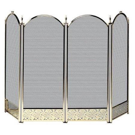 Four Fold Polished Brass Fireplace Screen - Filigree Designs Brass Iron Fireplace Fender