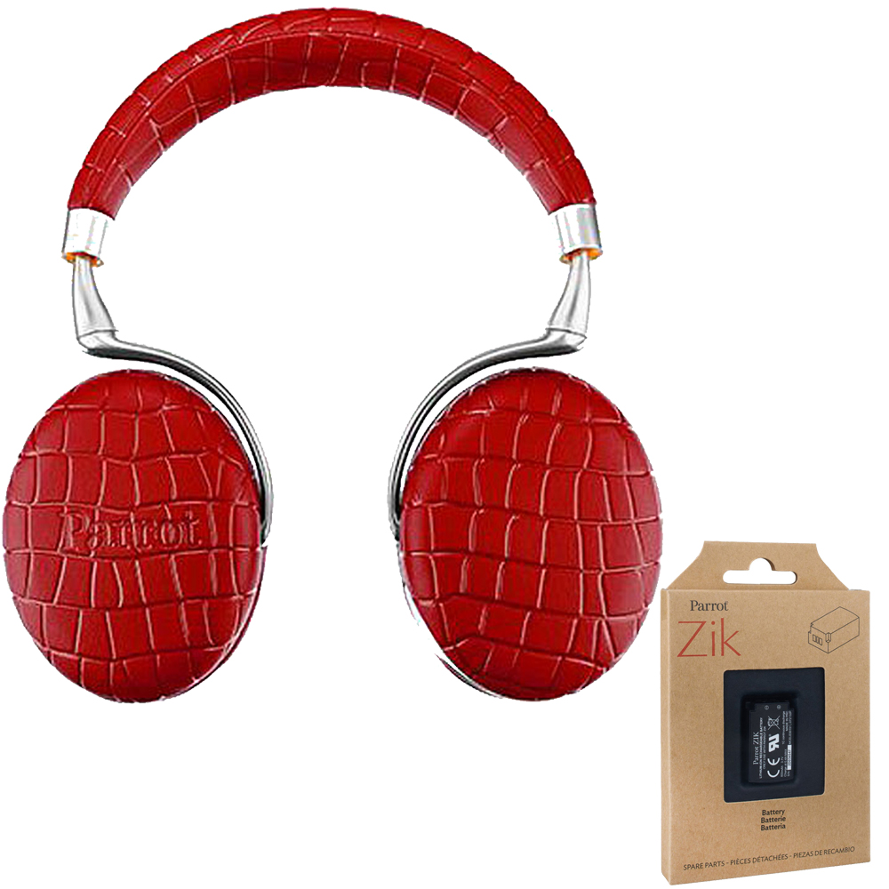 Parrot Zik 3 Wireless Noise Cancelling Touch Control Bluetooth Headphones (Red Croc)