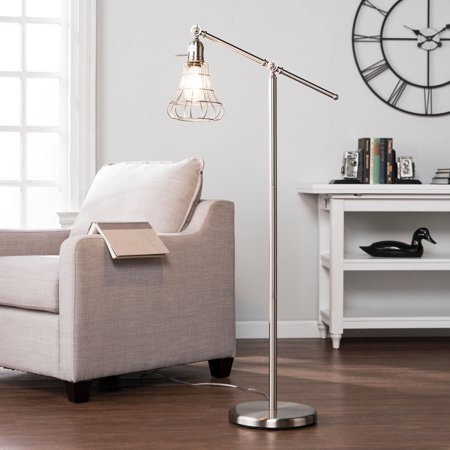 Brushed Nickel Contemporary Floor Steel (Southern Enterprises Valor Floor Lamp, Contemporary Style, Brushed Nickel )