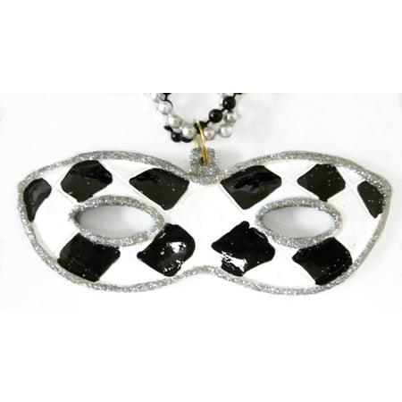 Black White Check Silver Mask Pendant 3 Strand Mardi Gras Bead Party - Mardi Gras Mask Beads