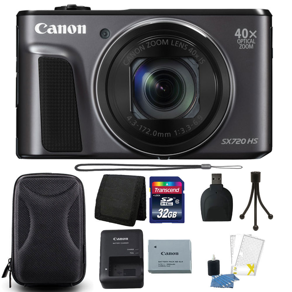 Canon PowerShot SX720 HS 20.3MP 40X Optical Zoom Wifi / NFC Enabled Digic 6 Processor Digital Camera Black with 32GB Bundle