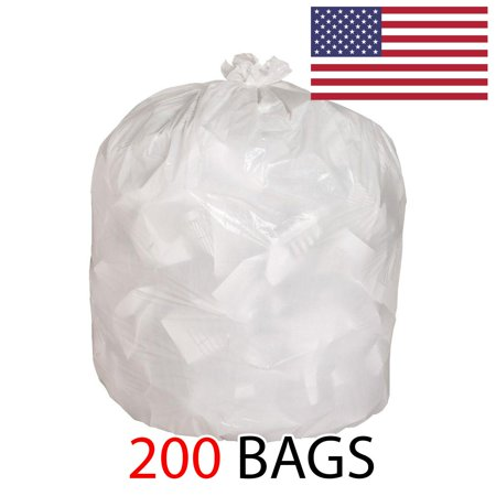 Ox Plastics 13 Gallon Kitchen Garbage Bags 1.5mil thick, Heavy Duty Trash Bags White, 24