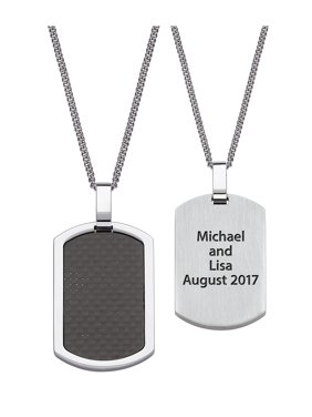 """""""Quick Ship Gift"""" - Personalized Men's Stainless Steel and Carbon Fiber Engraved Dog Tag"""
