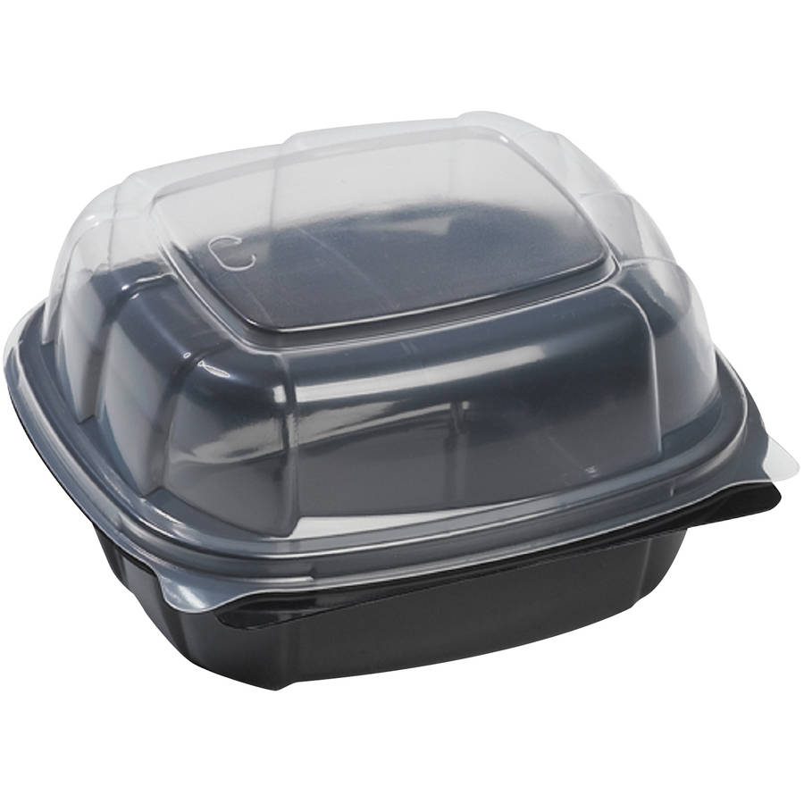 Mullinix Breakaway Hinged Poly 21.9 Oz Food Containers, Black & Clear, 171 count