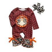 Yinyinxull Infant Baby Girls Thanksgiving Day Rompers Turkey Printed Jumpsuits Headband Clothes Sets Red Wine 0-3 Months