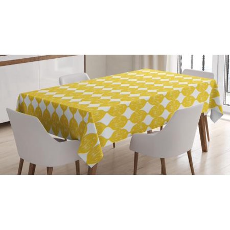 Lemons Tablecloth, String Out Interconnected Hand Drawn Lemon Figures Forming Ogee Pattern, Rectangular Table Cover for Dining Room Kitchen, 52 X 70 Inches, Earth Yellow and White, by Ambesonne