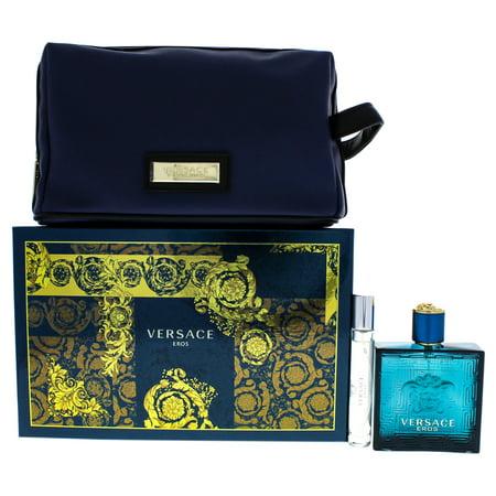 Versace Eros by Versace for Men - 3 Pc Gift Set 3.4oz EDT Spray, 0.33oz EDT Spray, Blue Trousse (Belle Gift Set)