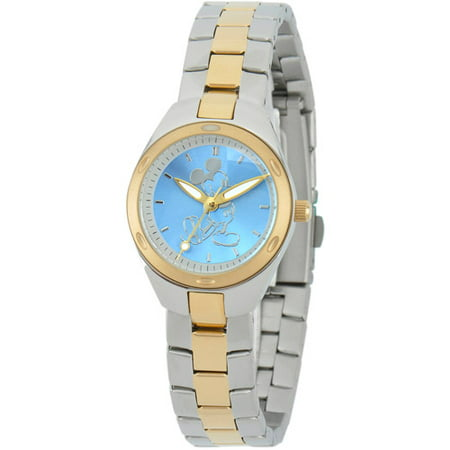Mickey Mouse Womens Fortaleza Stainless Steel Watch, Two-Tone Bracelet
