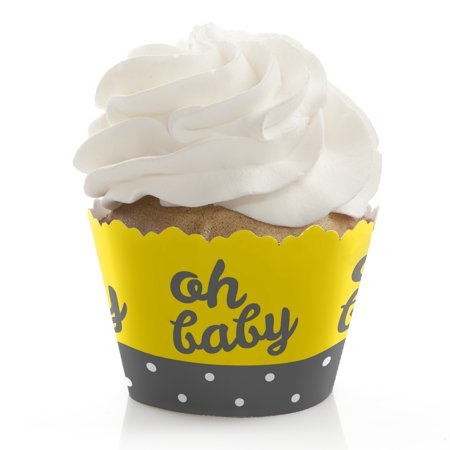 Yellow Cupcake Wrappers (Hello Little One - Yellow and Gray - Baby Shower Cupcake Wrappers - Set of)