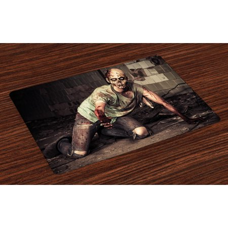 Zombie Placemats Set of 4 Halloween Scary Dead Man in the Old Building with Bloody Head Nightmare Theme, Washable Fabric Place Mats for Dining Room Kitchen Table Decor,Grey Mint Peach, by Ambesonne